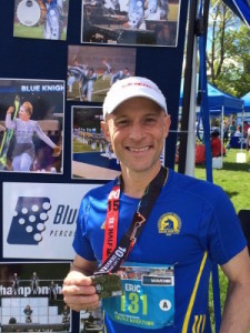 "Eric ""Breadloaf"" Rine, a Blue Knights alumnus, #RanForAscend in the Half-Marathon and won the ""Alumni"" division of the Fastest Drummer Contest."