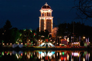 "Lakeside's ""Tower of Jewels"" looms over the park at night."